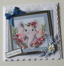 Handmade Elephant Birthday card Daughter Mum Friend I can personalise if req