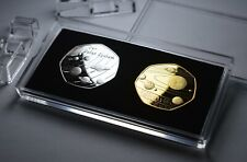More details for 2 x our solar system commemoratives in 50p coin display case. silver, 24ct gold