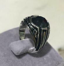 Turca 925 plata esterlina popular Negro Onyx Piedra Anillo de Hombre Hecho a Mano EE UU.