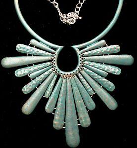 "Princess Amanda Oxidized Enamel Necklace Blue Green 20"" Long Statement Jewelry"