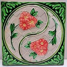TILE JAPAN ART NOUVEAU MAJOLICA PINK FLOWER DESIGN VINTAGE DECORATIVE CERAMI#203
