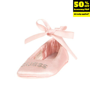 GUESS Satin Self Tie Ballerina Shoes EU 16 UK 0.5 US 1 Rhinestones Round Toe