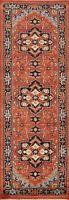 "Geometric Indo Heriz Serapi Oriental Runner Rug Wool Hand-knotted 2' 6""x7' 11"""