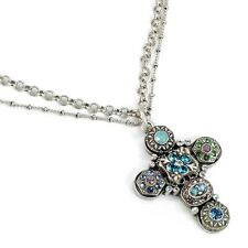 NEW SWEET ROMANCE VICTORIAN ETHERIA CRYSTAL CROSS NECKLACE ~~MADE IN USA~~