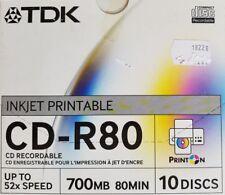10 TDK Blank Inkjet Printable CD-R media 52X CD -R Factory Sealed in Box