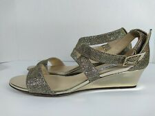 Jimmy Choo CHIARA Gold Glitter Metallic Slingback Sandals Sz 37.5