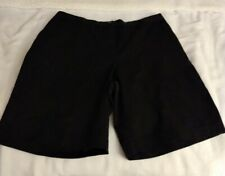 "Lands' End Women's Mid Rise 10"" Chino Bermuda Shorts 18W,1X Black Stretch Waist"