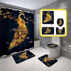 Gold Peacock Print Bathroom Rug Set Shower Curtain Non Slip Toilet Lid Bath Mat