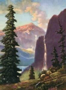 Purple Mountains Waterfall Water  by W. Wainwright
