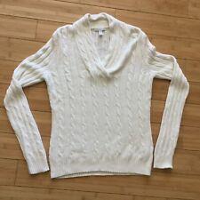 Womens Charter Club Ivory V Neck Cable Knit Angora Viscose Long Sweater Small