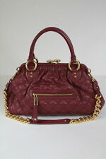 New MARC JACOBS Classic Quilted Stam Bag Chianti Burgundy Leather Bag Satchel