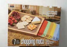Seville Bamboo Cutting Board 7 Removable Color Coded Chopping Mats BRAND NEW