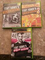 LOT OF 3 ORIGINAL XBOX TONY HAWK GAMES AMERICAN WASTELAND UNDERGROUND 1 & 2