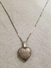 "Sterling Silver Heart Locket Pendant Necklace 18"" / 7.0 g"