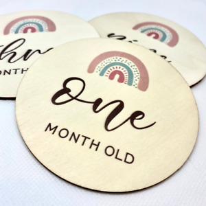 Wooden Baby Milestone Cards/Discs - Perfect Newborn Baby or Baby Shower Gift