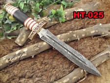 "14.5"" Long Damascus steel Dagger knife 8"" dual edge, Bone, Horn & brass scale"