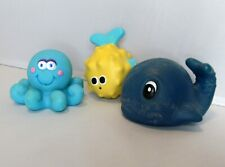 Set of 3 Rubber Octopus Sassy Fish Whale Lot Bath Tub Baby Toy Water Beach Play