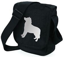 More details for husky dog bag shoulder bags metallic silver on black handbag mothers day gift