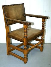 EDWARDIAN CARVER CHAIR IN TAN VINTAGE LEATHER
