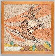 Gravel Art Stone Mid Century Birds Geese Wall Hanging Picture Wood Framed 13X13