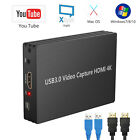 1080p 4K HDMI Video Capture Card USB 3.0 Recording for Game/Video Live Streaming
