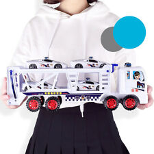 2-Deck Police Trailer Carrier Truck+4 Cars Baby Kids Toy Birthday Festival Gifts