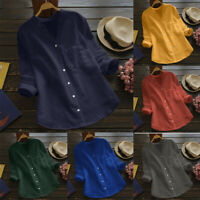 Women Summer long sleeve V Neck Baggy Cotton Linen Tops T-Shirt Blouse Plus Size