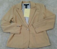 QVC's ~ Dialogue~Women's Size 8~Beige Lightweight Jacket Blazer One Button NEW.