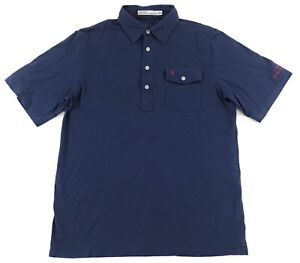 Criquet Classic Players Polo Shirt Mens Medium 100% Organic Cotton Navy Blue