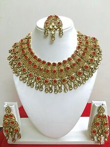 Indian Bridal Wedding Gold Plated Valentine Fashion Jewelry Necklace Earring Set