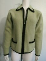 HERMAN GEIST Pea Green Black Boiled Wool Collar Zip Up Cardigan Coat Jacket M