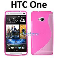Accessoire Housse Coque Etui Silicone S Line Rose HTC One (M7) +Film