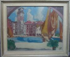 Peinture à L'Huile Monogramme Ew 62- Port Italie Lac de Garde Riva Del (le)