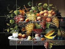 Art Severin Roesen Grape Fruit Mural Ceramic Backsplash Bath Tile #1847