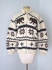 Ralph Lauren chunky Big Lebowski snowflake bears Aspen zip cardigan sweater S