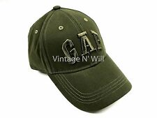 Gap Logo Patch Applique Military Olive Green Brushed Twill Baseball Hat Cap