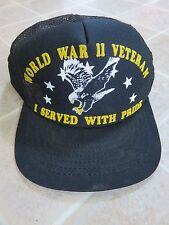 Vtg WORLD WAR II 2 Veteran Trucker HAT Eagle Stars WW2 WWII Vet US 70s/80s Pride