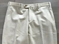 600$ Loro Piana Beige Wool Flannel Pants Size US 34, EU 50 Made in Italy