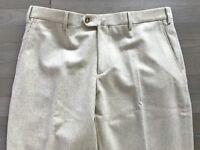 600$ Loro Piana Beige Wool Flannel Pants Size US 34, EU 50 Made in Italy