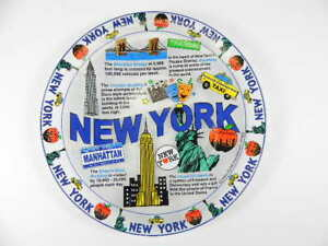 New York City Plate Glass Souvenir USA America 21 CM, with Stand, New