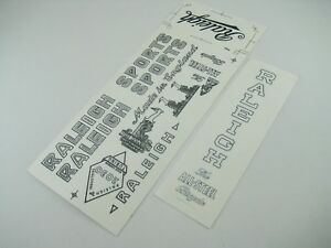 RALEIGH TRANSFER WATER SLIDE DECALS SET for VINTAGE RALEIGH BICYCLE