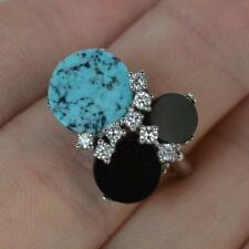 Stylish 18ct White Gold Onyx Turquoise & Diamond Cluster Ring d0196