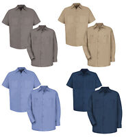 NEW! Red Kap Men Industrial 100% Cotton Work Shirt SC10/20 Many Colors Irregular