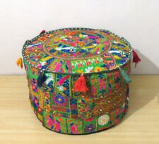 "Green 22"" Patchwork Ottoman Round Pouf Cover Pouffe Stool Seating Vintage Throw"