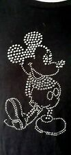Genuine DISNEY Girls X Large Black 100 % Cotton Sequined Mickey Mouse T-Shirt