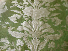 Vintage French Green Floral Scroll Jacquard Tapestry Upholstery Fabric ~Stunning