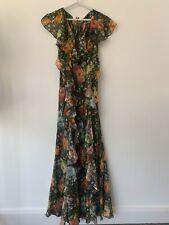 PAUL & JOE Floral Print Silk-Chiffon Ruffled Maxi Dress FR 36/UK 8. SS18 Runway