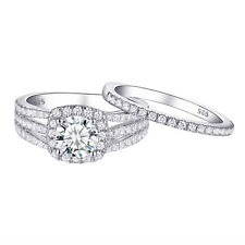Aaa Cz 925 Sterling Silver Size 9 Wedding Engagement Ring Set For Women Round