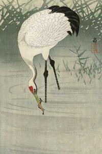 Japanese Print Crane Fishing in Shallow Water by Ohara Koson