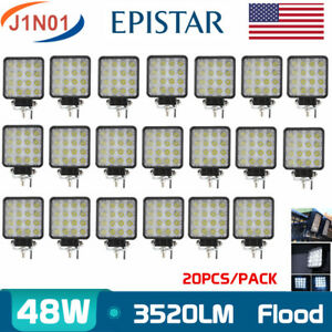 20X 48W Led Work Lights Pods Flood Beam 4inch Offroad Lamp Ford ATV UTE Driving